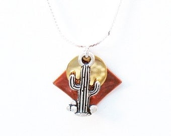 Cactus Necklace - Copper/Gold/Silver mixed metal color combination with pewter Cactus Charm - on Sterling Silver Chain