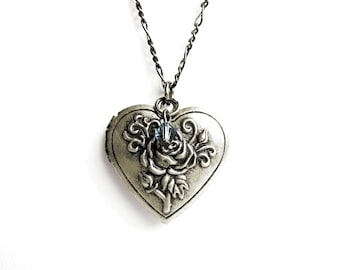 Heart Locket Necklace - Antique Silver Heart Locket with Rose Design and Blue Swarovski Crystal - on Gunmetal Chain