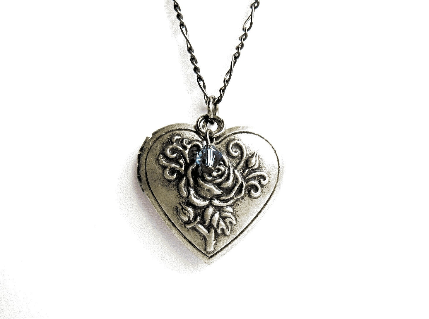 Heart Locket Necklace Antique Silver Heart Locket With Rose