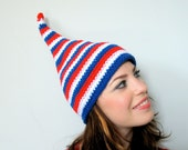 Americana - Halloween Costume Red White and Blue American Flag Elf Hat Children or Adult