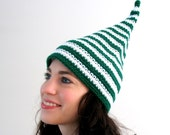 Extra Tall Green and White Striped St Patrick Irish Elf Hat - READY TO SHIP