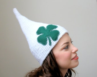 Luck 'O the Irish - Halloween Costume -White with Green Clover Child or Adult Leprechaun Hat