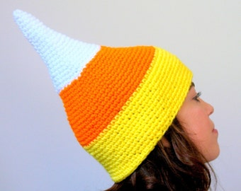 Candy Corn Hat - Halloween Candy Costume Elf Hat