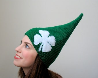 Little Leprechaun From the Emerald Isle  - Green and White Clover St. Patricks Day Irish Child or Adult Elf Hat