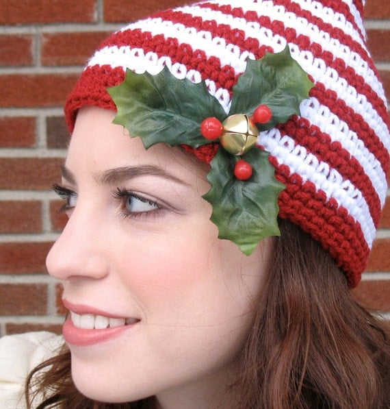 Christmas Elf Hat with Holly and Bells - Pointy Hat for Adult or Child