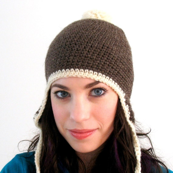 Brown Bunny - Brown and Cream Wool Hat with Earflaps and Pom Pom