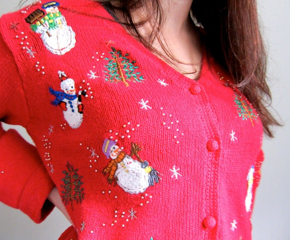 Incredibly Ugly Christmas Sweater in Red with Snowmen and Buttons Embroidery - SALE