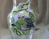 Hand Painted Owl on glass vase