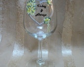 painted  CALLA LILLIES wine glass