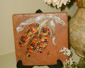 Hand painted tile trivet 6in. Indian Corn