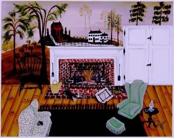 Folk Art  FIRESIDE PEACE Giclee Print by Barbara Steele Thibodeaux