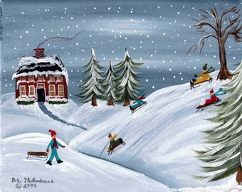 Folk Art  SLEDDING  signed print by Barbara Steele Thibodeaux