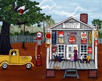 Southern Grocery FOLK ART PRINT by Americana Artist Barbara Thibodeaux