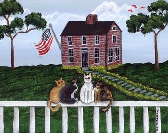 Fence Kitties FOLK ART PRINT by Barbara Steele Thibodeaux