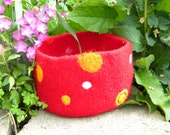 Red Polka Dot Bowl in Felted Mohair and Wool, Special listing for Kristine