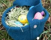 Deep Turquoise Wool Gathering Basket