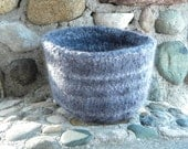 Striped Felted Soy Wool Bowl, Gray, SALE