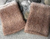 Eco Caramel and Cream Felted Fingerless Gloves, Soft and Snuggly Eco Alpaca and Wool