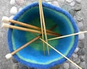 Sturdy Large Blue Striped Felted Wool Bowl, RESERVED FOR KRISTINE