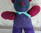 Fuzzy Felted Wool Teddy Bear in Purple and Red