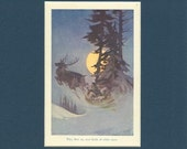 Santa Flying over Fields of White Snow - Antique 1908 Childrens Christmas Print