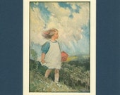 Adorable 1920 Child in O Wind A-Blowing Vintage Print