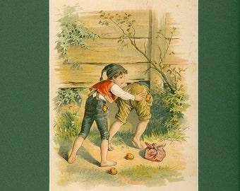 German Boys on an Adventure Antique Children Print - Circa 1890'S