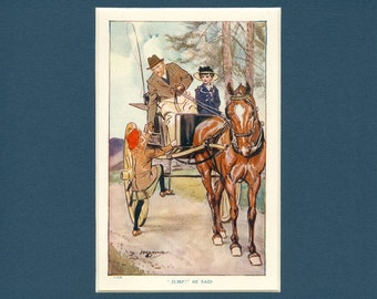 1918 Vintage Story Book Children, Horse and Carriage Print