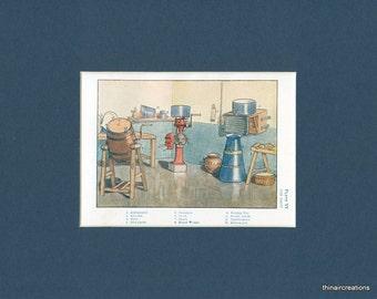Circa 1908 Antique Print of The Dairy