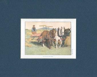 Horse Drawn Self Binder Antique Farm Print - circa 1908