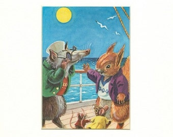 Adorable Vintage Possum & Squirrel Print