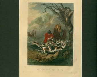 Antique 1892 Print of Fox Hunting - The Death