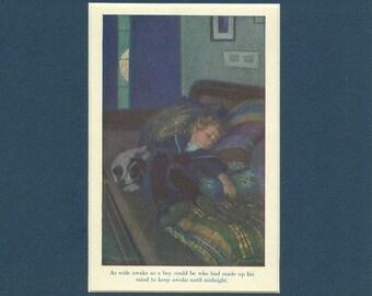 Children Staying awake until Midnight - Antique 1908 Print