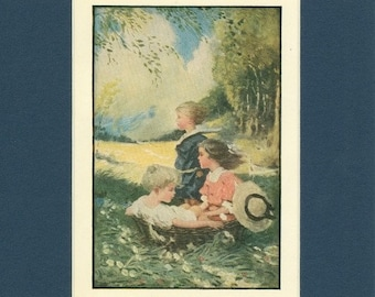 Adorable 1920 Children Three of us Aboard in the Basket Vintage Print