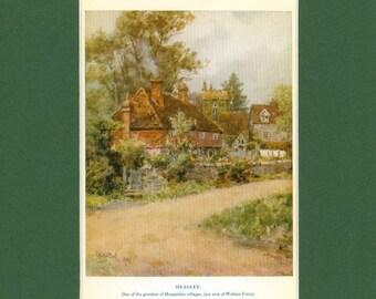 Vintage English Country Landscape of Headley Vintage 1926 Print