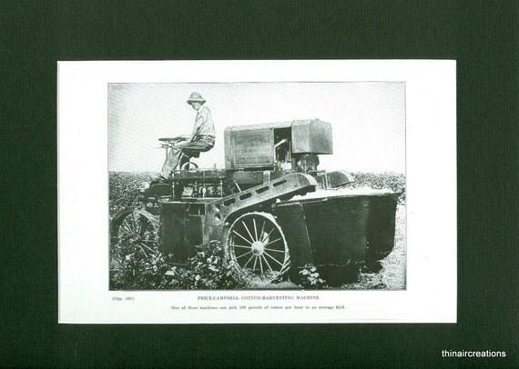 1932 Cotton Harvesting Machine Vintage Farm Print