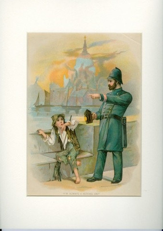 1906 Poor Boy and Policeman from Charles Dickens - Antique Print