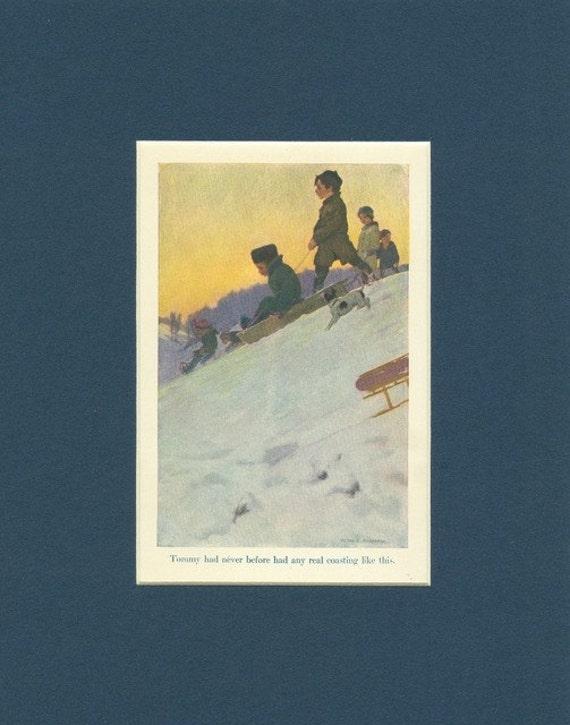 Children Never Before had Real Sledding - Antique 1908 Print