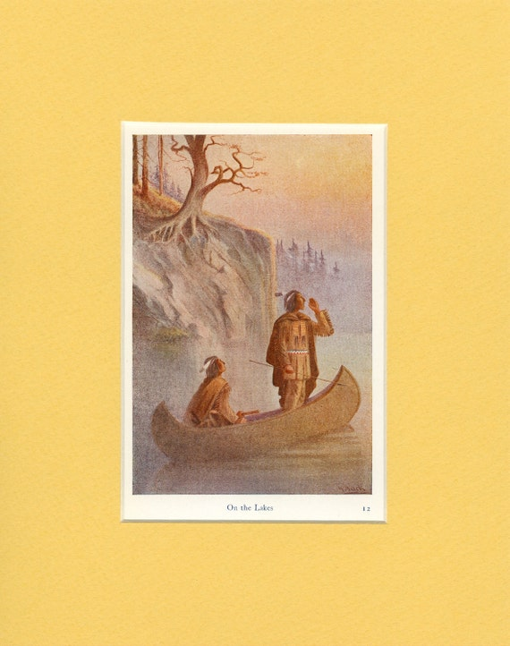 1932 Indian Myths - On the Lakes Vintage Print