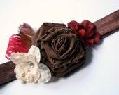 Autumn Flowers Headband- Burgundy, Cream and Brown