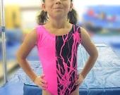 Girls Gymnastics Leotard Hot Pink Lightning Child size  4 6 8 10 12 14 16 Black NEW Childrens tank leo