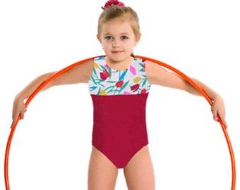 Gymnastics Girls Leotard Child size 2 4 6 8 10 Red White green pink yellow Tulip design NEW Youth gym tank leo