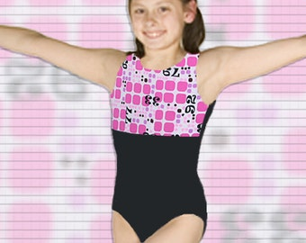 Girls Gymnastics Leotard Child size 6 8 10 12 pink geometric design Black New Youth tank leo