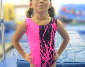 Girls Gymnastics Leotard Hot Pink Lightning Child size  4 6 8 10 12 14 16 Black NEW Childrens tank leo
