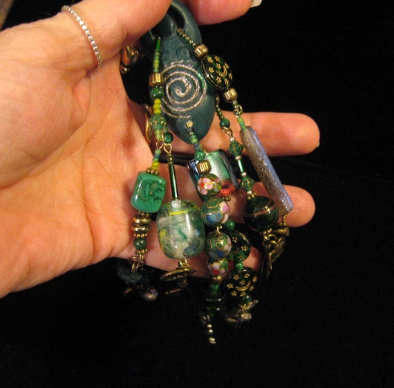 Polymer Clay Pendant Green Briar Forest Goddess