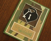 "Camouflaged handmade greeting card ""You hold the Key to my Heart"""
