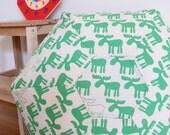 Handprinted Floor Cushion - Green Moose