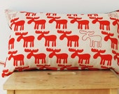 Red Moose Cushion Cover - 50cm x 30cm