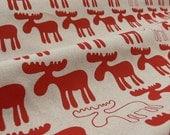 Moose Handprinted Fabric - Dessert Red
