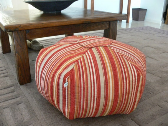 Morrocan Style Floor Cushion - Rich Red Stripes